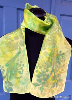 Flowers Silk scarf. Lovely shimmery yellow, gold & green colors, Original silk screened by hand silk art by artist M Theresa Brown.