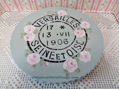 French Stamp Stenciled Wood Lazy Susan by CelestinaMarieDesign