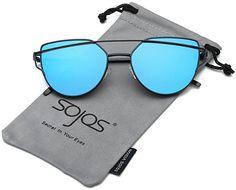 SojoS Cat Eye Mirrored Flat Lenses Street Fashion Metal Frame Women Sunglasses SJ1001 With Black Frame/Blue Lens