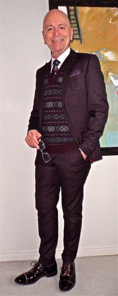Deep plum suit, vintage tie & fair-isle vest, Fratelli Rossetti patent…
