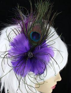 Elegant feather hair fascinators.