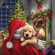 Heartwarming Christmas scene of Santa delivering a puppy. Somebody is going to have the best Christmas day yet! Printed on luxury paper napkins. Nice gift for the rabbit lover! Package of 20 Napkins Christmas Puppy, Old Fashioned Christmas, Christmas Scenes, Christmas Past, Christmas Animals, Winter Christmas, Christmas Crafts, Xmas, Christmas Napkins