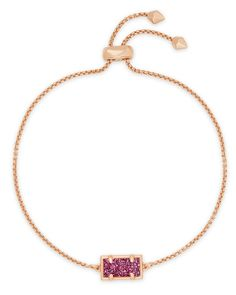 Kendra Scott | Phillipa Rose Gold Chain Bracelet in Deep Fuchsia Drusy
