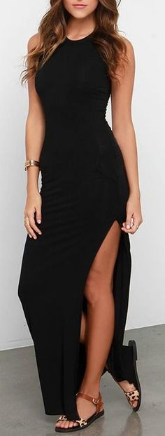 Don't underestimate the power of a chic dress like the Shield and Sword Black Sleeveless Maxi Dress! Jersey knit tops a fitted, sleeveless bodice that extends down the body to a maxi length, but not before showing off some leg with a high side slit. #lovelulus