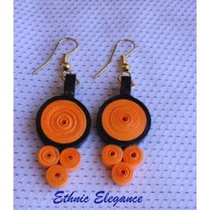 Ethnic Elegance (Orange & Black) quilled earrings