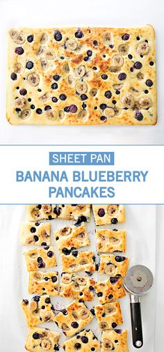 These banana blueberry sheet pan pancakes are so easy to make and a time saver at breakfast when you need to feed a bunch of people at once! Breakfast For Kids, Breakfast Recipes, Breakfast Ideas, Pancake Recipes, Health Pancakes, Kids Meals, Easy Meals, Cooking App, Blueberry Pancakes
