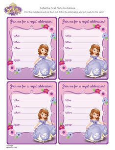 Sofia The First Free Printables/party Invite