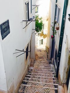 Tiny streets and narow streets of Alfama district Lisboa #Portugal