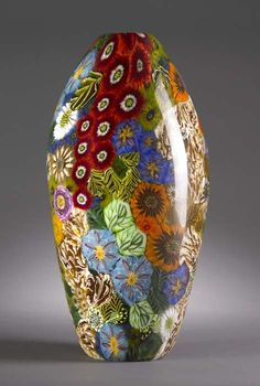Amazing glass vase; Fused, blown, cold-worked by Martie Negri - Still Life