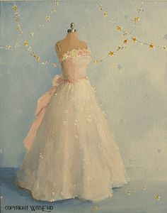 'THE STARLIGHT COTILLION', gown dress painting White and Pink fashion art still life FREE USA shipping.  by WitsEnd, via Etsy