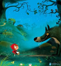 Illustration and Inspiration: Dankerleroux illusrates a ridiculously cute vision of Red Riding Hood.