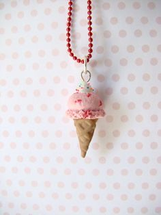 Strawberry Ice Cream Cone Pendant  Polymer Clay by TheLollipopStop, $15.49
