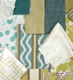 Lime, light green, turquoise and white fabrics - Thom Filicia Fabric Collection. Image: calicocorners.com.