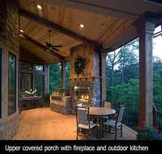 outdoor lighting, speakers, ceiling on porch, built in grill and outdoor fireplace