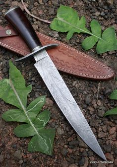 Damascus Knife Custom Handmade  - 15.00 Inches Micarta Handle Bowie #Handmade