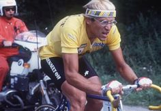 Laurent Fignon on his way to winning the 18th stage of the Tour de France between Bourg d'Oisans and La Plagne. With five stage wins overall, Fignon captured his second consecutive Tour de France.