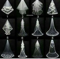 Tipos de véu de noiva.