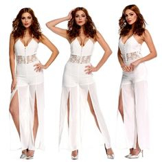$17.09 Stylish Lady Women's White Sexy Sleeveless Halter Strap Lace Stitching Long Slit Jumpsuit