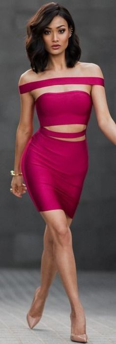 Cherry red Mybandagedress bodycon and off shoulder dress |Spring party style | Micah Gianneli #cherry