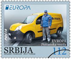 "europa stamps: Serbia 2013 - Europa 2013 ""The postman van""  celebrating PostEuropa's 20th anniversary - 1993-2013"