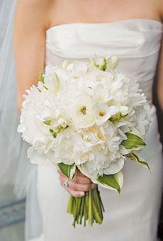 white ranunculuses and peonies!