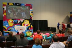 Getting comfy at the LEGO KidsFest Theatre sponsored by Cartoon Network.