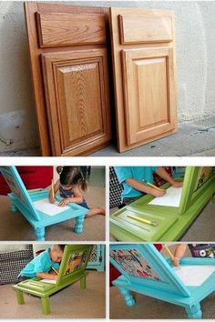 reuse cubbored doors as desks for kids