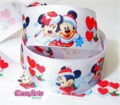 Fita gorgurão Mickey e Minnie Natal - 38mmx1