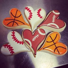 Sport love cookie~       No source, Orange Basketball, Brown football, white baseball, hearts
