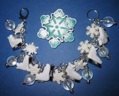 Ice Skate Charm Bracelet Winter Holiday Snow Snowflake Christmas Jewelry OOAK Fun Adult Teen $28
