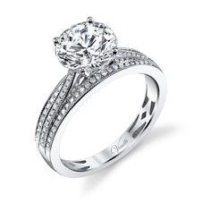 Venetti 14k White Gold Triple Band Engagement Ring