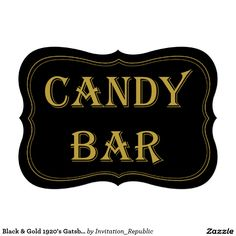 Black & Gold 1920's Gatsby Wedding Candy Bar Sign 13 Cm X 18 Cm Invitation Card
