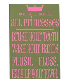 Green & Pink 'Princesses' Bathroom Wall Art by Vinyl Crafts on today! Girl Bathrooms, Baby Bathroom, Bathroom Wall Art, Bathroom Ideas, Vinyl Crafts, Vinyl Projects, Princess Bathroom, Crafts For Girls, Baby Crafts