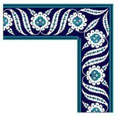 İznik Çinisi Bordür - Anikya Mimari Turkish Tiles, Turkish Art, Portuguese Tiles, Moroccan Tiles, Islamic Patterns, Indian Patterns, Slab Pottery, Ceramic Pottery, Tile Art