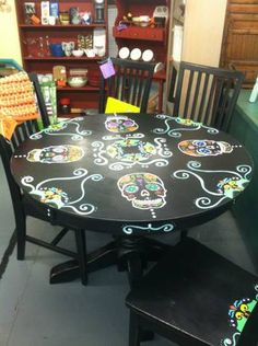 I will do this to my old dining table that will soon b my craft table! Can't wait!!