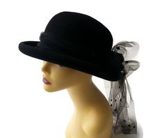 Vintage Betmar Black Hat with netting by EclecticVintager on Etsy, $30.00