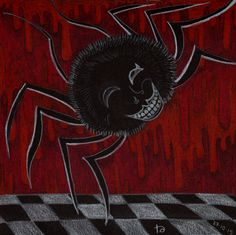 drawlloween day spider i love spiders but i saw Odilon Redon's 'Smiling Spider' recently and i do think that is a bit scary. The Monocles - The Spider and the Fly Odilon Redon, Black Paper, Spiders, Scary, Moose Art, Blood, Drawings, Animals, Animales