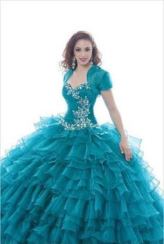 New Gorgeous 2015 Teal Green Sweetheart Crystal Rhinestones with Organza Ruffled Ball Gown Skirt Quinceanera Dresses