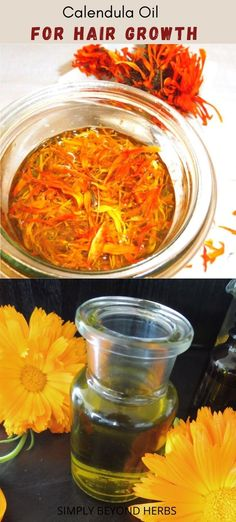 Calendula infused oil is prepared by maceration of calendula petals in oil where the herb releases its oil-soluble substances. It possesses excellent skincare properties when applied on skin or hair but is also a popular addition to salads or quiche. Natural Health Remedies, Herbal Remedies, Rose Oil For Skin, Vegan Recipes Plant Based, Calendula Oil, Natural Beauty Recipes, All Natural Skin Care, Herbal Oil, Infused Oils