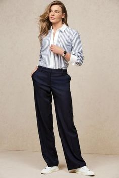 Buy Blue Stripe Formal Shirt online today at Next: United States of America Curvy Women Fashion, Womens Fashion For Work, 50 Fashion, Fashion Kids, Fashion 2018, Casual Outfits, Cute Outfits, Formal Shirts, Mode Inspiration