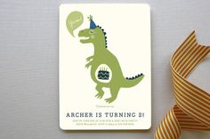Cakeasaurus Dinosaur Children's Birthday Party Invitations by Pistols at minted.com