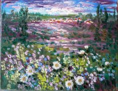 Original abstract impressionism oil painting  Provence Lavender fields  Vadal #Impressionism