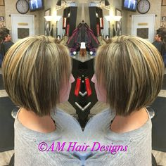 Gray coverage medium blonde caramel swing bob inverted bob thick hair highlights and lowlights  AM Hair Designs at Star Image