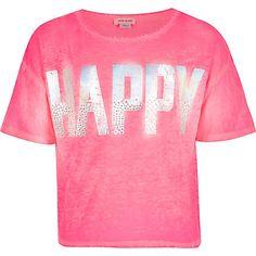 Girls pink happy diamante print t-shirt £10.00