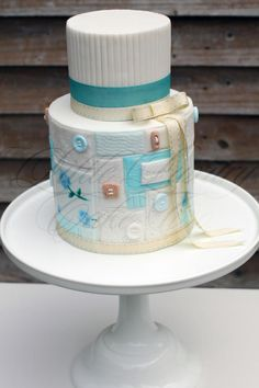 Patchwork Christening Cake - Cake by Little Luxury Cake Co.