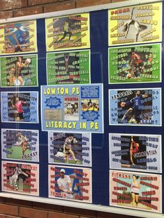 """""""Some of the new displays from my PE display board makeover. Pe Bulletin Boards, School Stuff, Back To School, Gcse Pe, Literacy Strategies, Pe Lessons, Pe Ideas, Kids Fitness, Flipped Classroom"""
