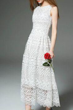 White Sleeveless Lace Maxi Dress