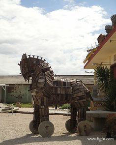 """CAUTION! This pin contains a """"Trojan...  ... Horse""""  Fron one of the antique shops on the road connecting #Nafplio to Ancient #Mycenae in the #Peloponnese - #Greece"""