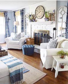 Elegant Beautiful Blue And White Farmhouse Living Room Decor.