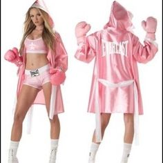4 Piece PINK EVERLAST SEXY BOXER CHICK WOMENS COSTUME Size Large